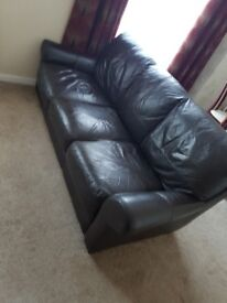 3+2 black leather sofas for sale