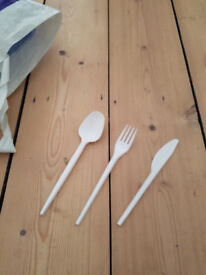 100 plastic forks spoon and knives