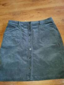 Womans grey corded button skirt size 16