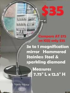 3x to 1 magnification mirror  Touch Hammered Stainless Steel with sparkling diamond Table / Vanity  Mirror