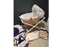 Moses basket, baby bouncer, sleeping bags, bundle