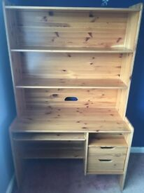 Large Wooden Desk with Shelving and Drawers