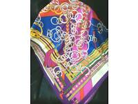 Exclusive silk scarf magical chain blue white rose purple yellow black