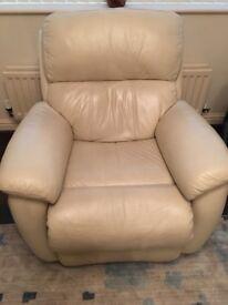 Single cream leather chair