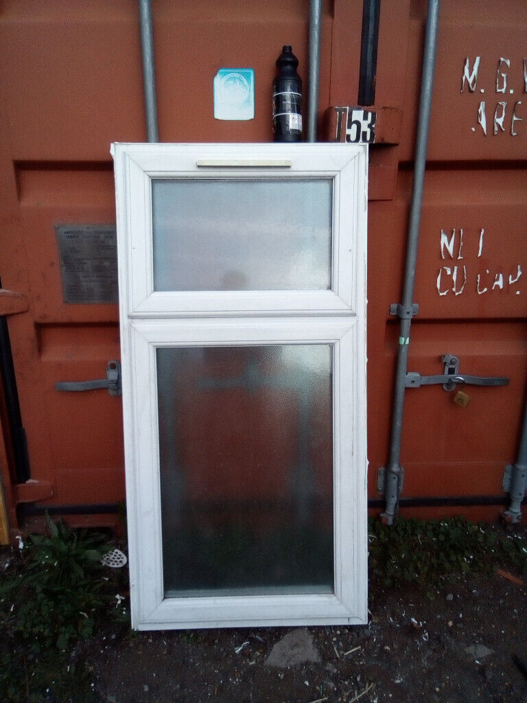 White Upvc Window With Top Opening Fanlight And Bottom Opener