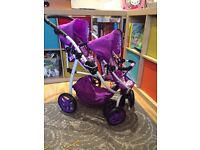 Doll pram buggy tandem exc condition