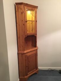 Solid Pine Tall Glass Fronted Corner Unit