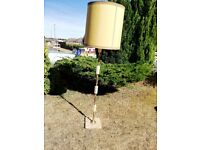 Vintage Onyx and Brass column floor lamp with shade