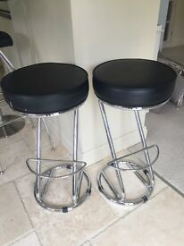 2 x Breakfast Bar Stools Chrome
