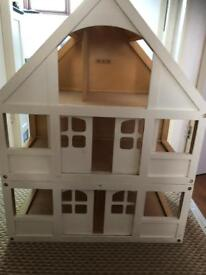 Large wooden dolls house, accessories, garage has no door, ideal project for decorating