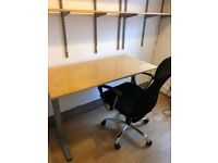 Office desk, chair (and shelves for free)