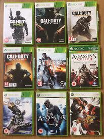 9 XBox 360 Games - Call of Duty, Assassins Creed, Battlefield, Street Fighter, Vanquish