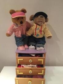 Bear factory/build a bear mini chest of drawers/two bears/full set of clothes/NEED GONE ASAP