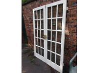 15 Panel Bevel Edged Glass Hardwood Double Doors
