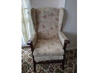 Cottage style settee and wingback armchair