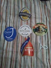6 Pump badges, 3 clips+ 6 retro Beer Mats