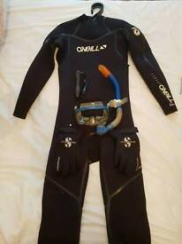 Wet suit and snorkeling gear under water camera