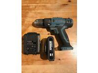 ERBAUER 18V 2.0AH LI-ION CORDLESS COMBI DRILL + 2 batteries + charger