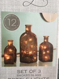 Set of 3 Bottle Lights - Smoked Glass