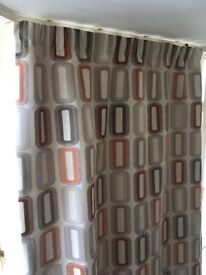 Beautiful fully lined retro design curtains. Bespoke & made by C&H Fabrics.