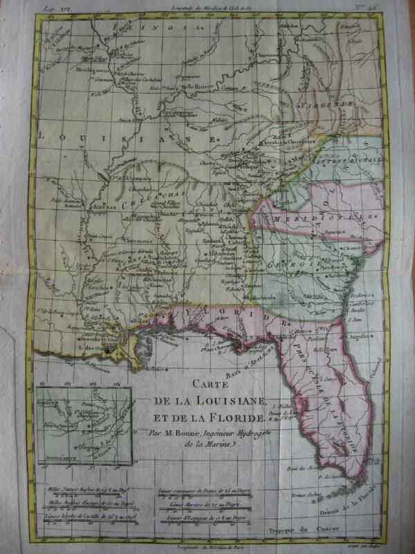 1780 - BONNE - USA  Map FLORIDA  LOUISIANA  MISSISSIPPI River  MISSOURI  ALABAMA
