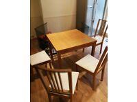 Extendable table Bjursta 50/70/90x90 cm Ikea + 4 chairs Ekedalen