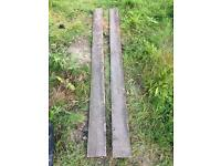 Two wooden gravel boards