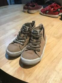 Boys mid top brown trainers - size 9
