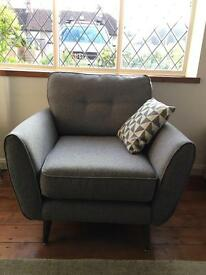 Grey French Connection Designer 70s Style Armchair