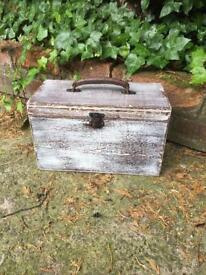 Carry box wooden storage box distressed makeup box