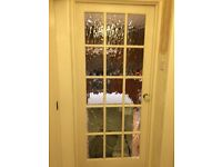 Solid wood doors with glass panels