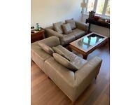 Modern beige leather sofas