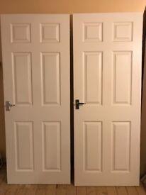 3 six panel white woodgrain internal doors with chrome handles and hinges