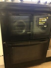 Zanussi Black 60 cm Gas cooker with 2 ovens and four burners for sale