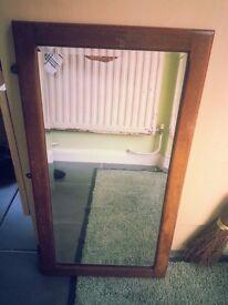 Lovely Vintage Oblongian Mirror, Wooden Frame