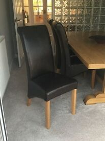 Leather Dining Chairs with Oak Legs