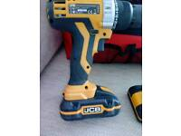JCB 20v lithium-Ion cordless combi drill and tool bag.