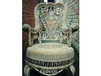 Stunning antique Edwardian wicker rocking chair