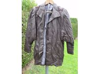 LADIES CHOCOLATE BROWN LEATHER 3/4 LENGTH COAT WITH APPLIQUE