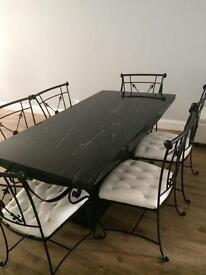 High Quality Black White Marble Dining Table And 6 Chairs