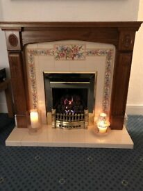 Valor Dream Gas Fire, Adam Style Medium Oak Fire Surround, Tiled Inset and Hearth, Large Mirror