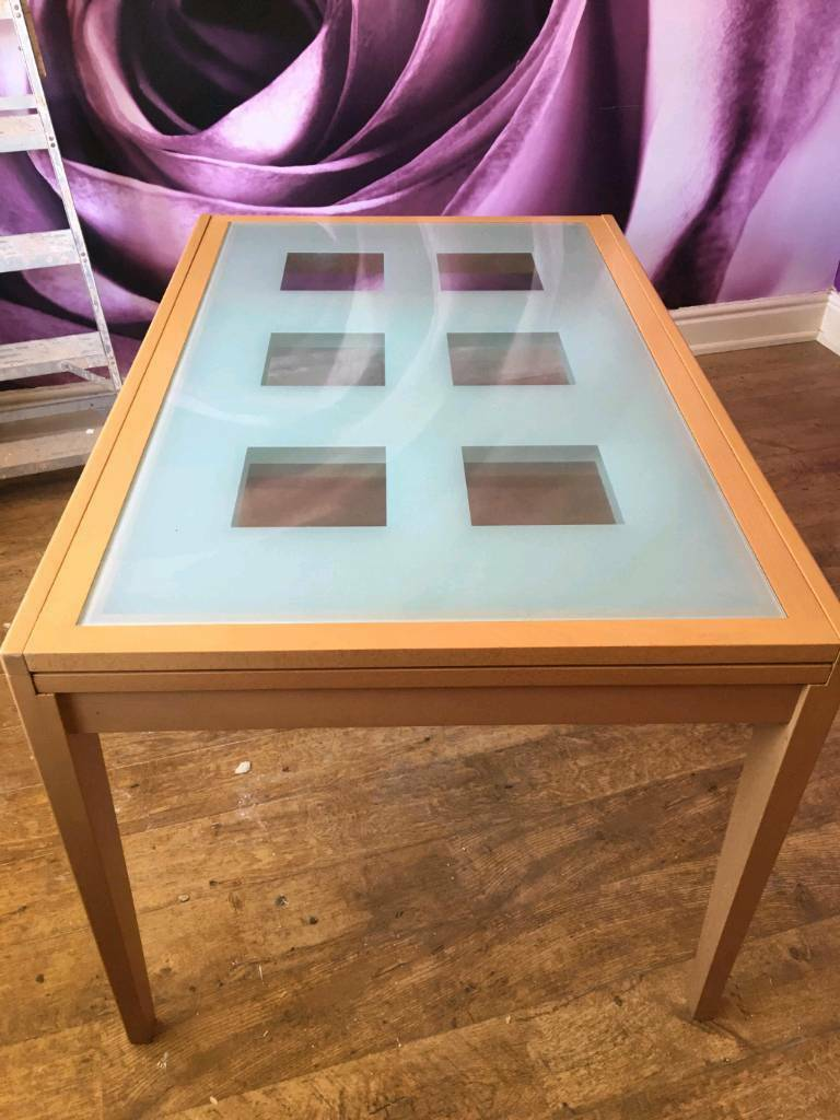 extending glass top dining table 6 chairs matching sideboard for