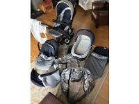 Jane trider travel system pram/car seat/pushchair with foot muffs/rain covers/fly net and extras.
