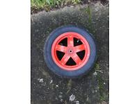 Piaggio zip front wheel & good tyre pumped up and ready to be bolted on