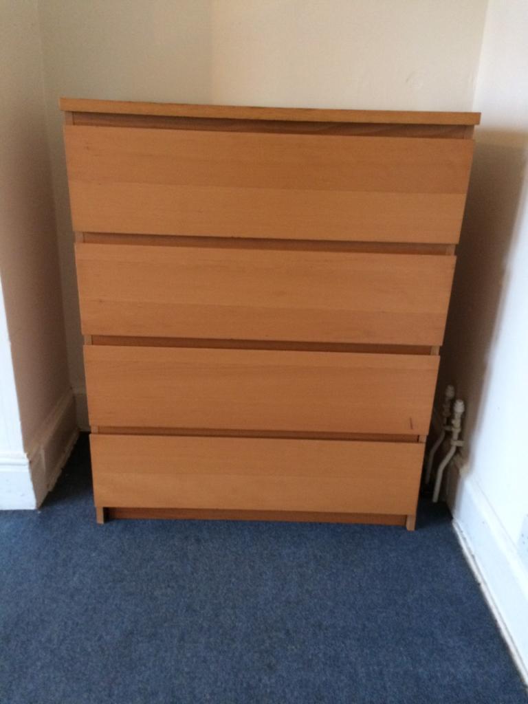 IKEA MALM DRAWERS chest of 4 drawers Light Oak