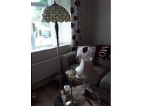 Tiffany style heavy floor lamp plus 2 table lamps