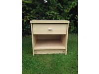 Side table blonde laminate with drawer