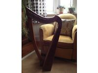 Beautiful Erinsay 22 string harp with nylon carry bag, tuning key and spare strings