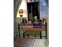 Metal and rattan dressing table and stool