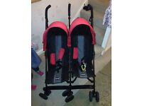 O'baby double pram red